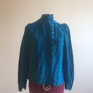 Tops - Silk geometric high collar shirt. Blue size xs